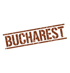 Bucharest brown square stamp vector