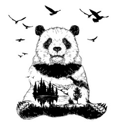 double exposure panda bear and forest landscape vector image vector image