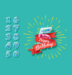 happy anniversary glass bulb numbers set vector image vector image