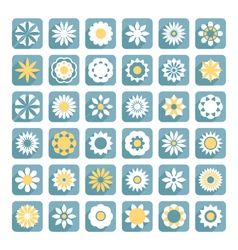set of flower flat flowers icons vector image vector image