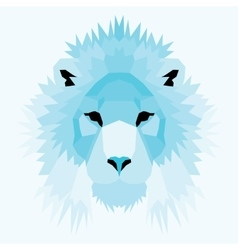 Blue low poly lion vector image
