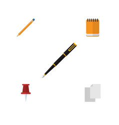 flat icon stationery set of pushpin drawing tool vector image