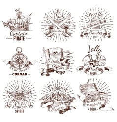 Hand Drawn Pirate Emblems vector image vector image