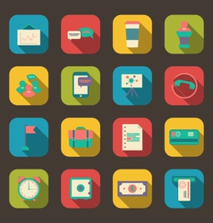 Flat Icons of Financial Service Items vector image
