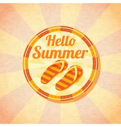 Hello summer retro background with beach slippers vector