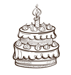 monochrome birthday chocolate cake isolated on vector image