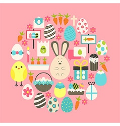 Easter Flat Icons Set over pink vector image vector image