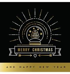 Gold Christmas New Year line art snow globe card vector image vector image