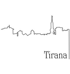 tirana city one line drawing background vector image