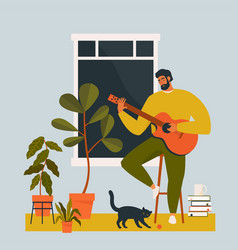 a young man playing guitar at home guitarist vector image