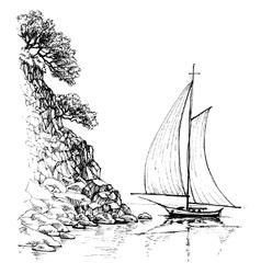 Artistic sketch of sailboat vector