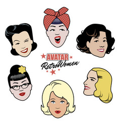 Avatars retro women set of six 40s or 50s style vector