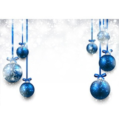 Background with blue christmas balls vector image