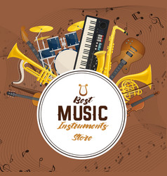 Banner with sound or musical instruments vector