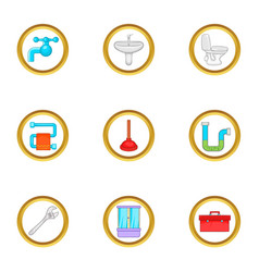 Bathroom plumbing icons set cartoon style vector