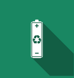 battery with recycling symbol with long shadow vector image