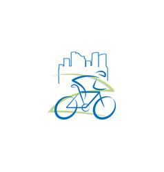 bicycle building city logo design vector image