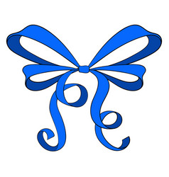 blue ribbon bow vector image