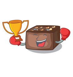 boxing winner slice almond chocolate cake isolated vector image