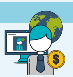 businessman computer world money digital marketing vector image