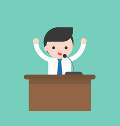 businessman or politician speaking on podium with vector image