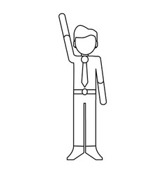 businessmen with hand up black and white vector image