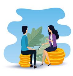 Businesswoman and businessman teamwork sitting in vector