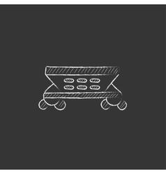 Cargo wagon Drawn in chalk icon vector