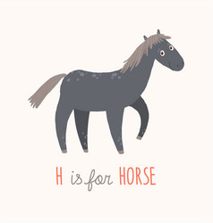 cartoon black horse h is for horse cartoon vector image