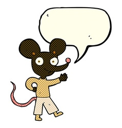 Cartoon waving mouse with speech bubble vector