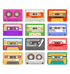 cassettes different color music tape retro audio vector image