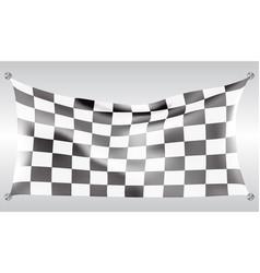 checkered flag flying wave white design race vector image