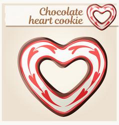 Chocolate heart cookie vector