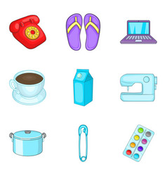 Chores icons set cartoon style vector