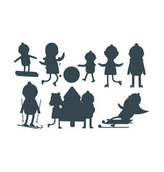 christmas kids silhouette playing winter games vector image