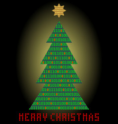 Christmas tree digital designed christmas card vector