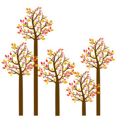 Colorful autumn tree set collection vector