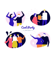 cool party web banner flat template vector image