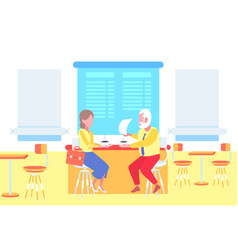 couple man woman sitting cafe table businesspeople vector image