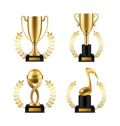 cup trophy with golden laurel realistic gold vector image