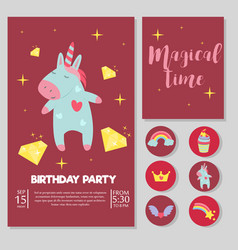 Cute unicorn baby birthday party card vector