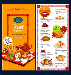 Danish cuisine dishes and desserts vector