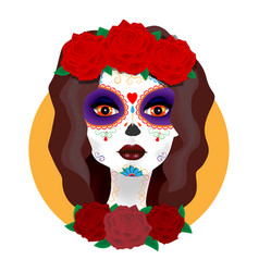 Day of the dead beautiful girl with roses vector