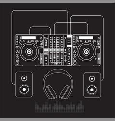 Dj mixer sound turntables headphone isolated vector