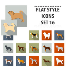 dog breeds set icons in flat style big collection vector image