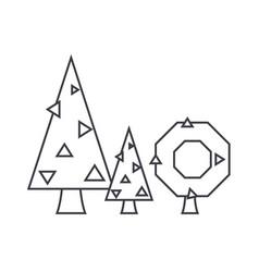 fir tree thin line icon concept fir tree linear vector image