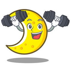 Fitness crescent moon character cartoon vector