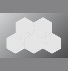 Five piece puzzle hexagon diagram puzzle 3 step vector