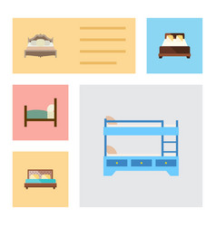 flat mattress set of mattress bunk bed hostel vector image