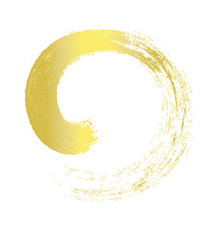 Gold brush stroke line circle paint vector